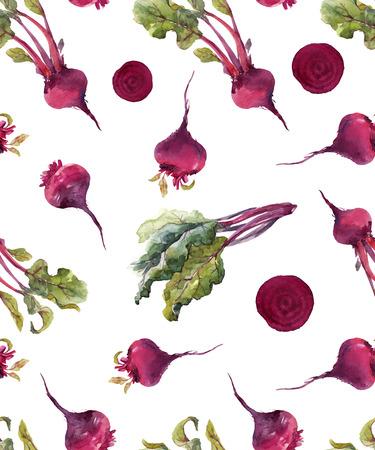 Watercolor beet vector pattern Çizim