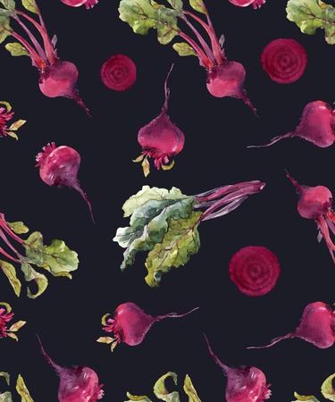 Watercolor beet vector pattern Illustration