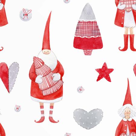 Nice watercolor christmas vector pattern Stock Photo