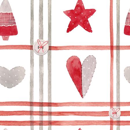 Nice watercolor christmas vector pattern Иллюстрация