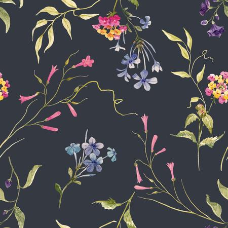 Aquarel bloemen vector patroon Vector Illustratie