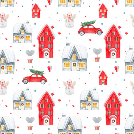 Nice watercolor christmas pattern Stock Photo