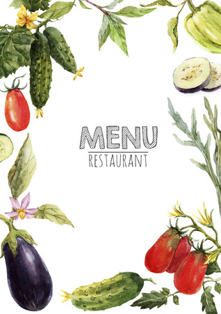 Watercolor menu template Stock fotó