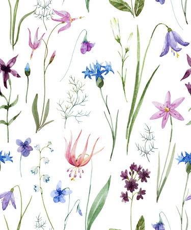 Watercolor wild flowers pattern Stock fotó
