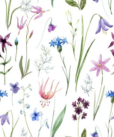 Watercolor wild flowers pattern Zdjęcie Seryjne