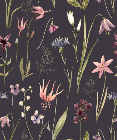 Aquarell wilde Blumen Muster Standard-Bild - 88984040