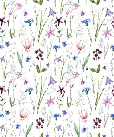 Aquarell wilde Blumen Muster Standard-Bild - 88984041