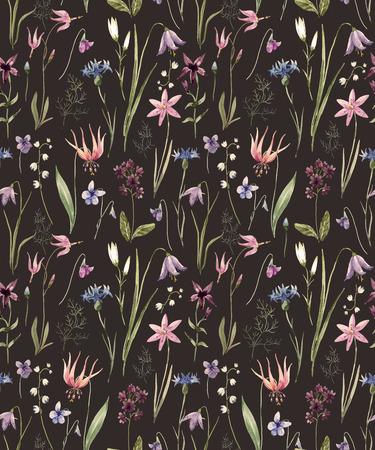 Watercolor wild flowers pattern Stock Photo