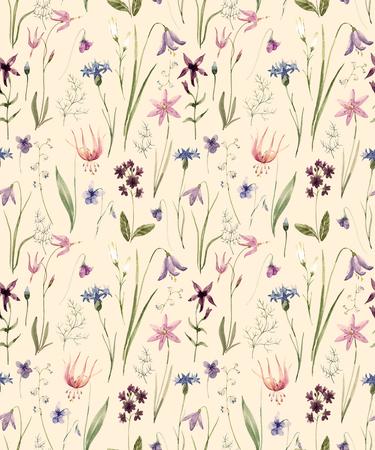 Aquarell wilde Blumen Muster Standard-Bild - 88984043