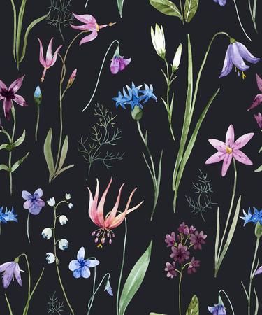 Aquarell wilde Blumen Muster Standard-Bild - 88984140