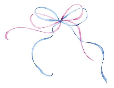 水彩のリボンの弓