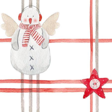Nice watercolor christmas pattern 版權商用圖片