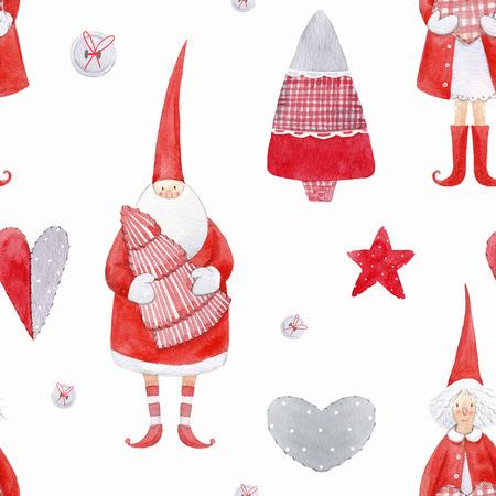 Nice watercolor christmas pattern Stock Photo