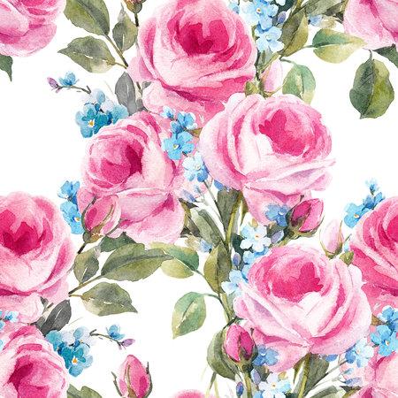 Watercolor floral pattern 版權商用圖片 - 89449560