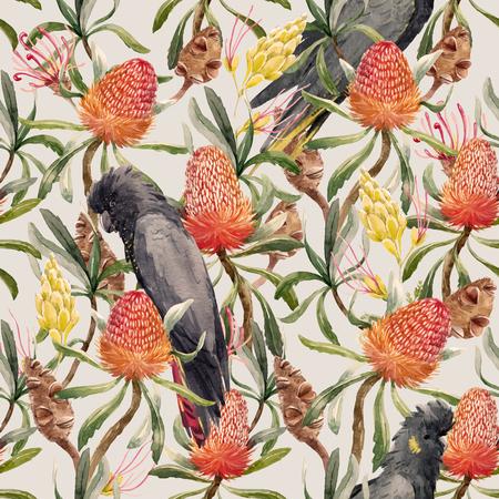 Watercolor tropical australian vector pattern Stock Illustratie
