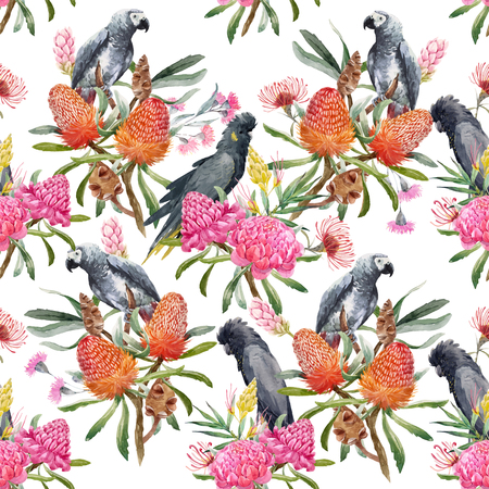 Birds sitting in the flowers. Watercolor tropical australian vector pattern