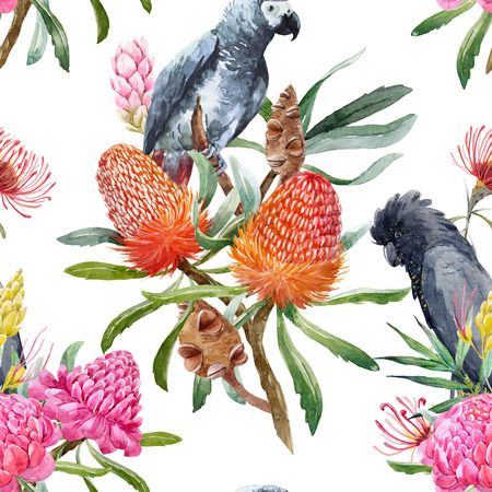 Two birds sitting in the flowers. Watercolor tropical australian vector pattern