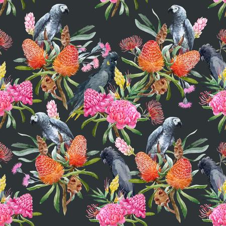 Watercolor tropical australian vector pattern Illustration