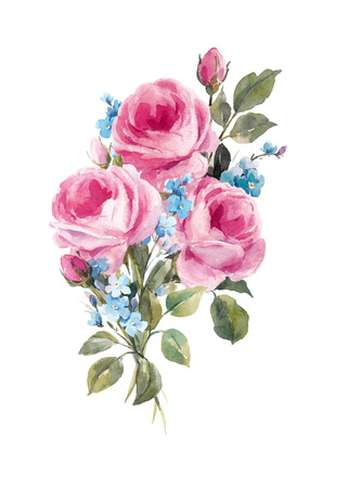 Watercolor floral vector composition Banco de Imagens - 89988628