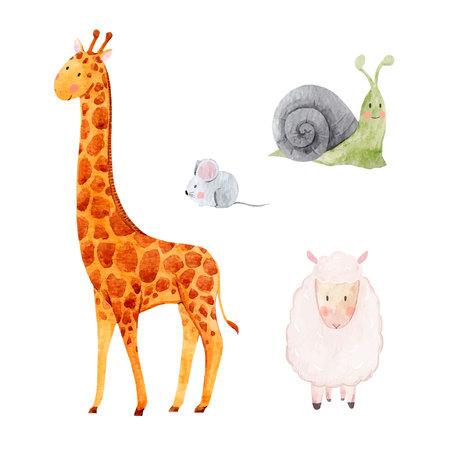 Leuke aquarel dierlijke vector set Stock Illustratie