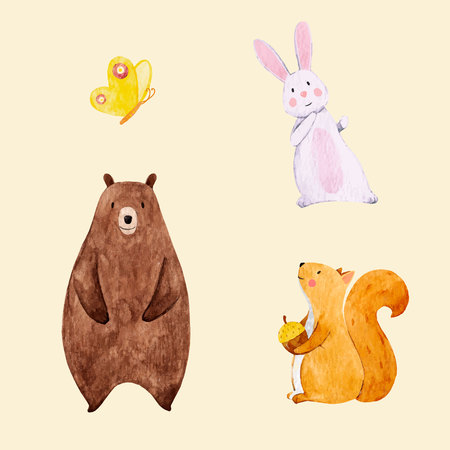 Beautiful vector set with some hand drawn watercolor cute baby animals on transparent background