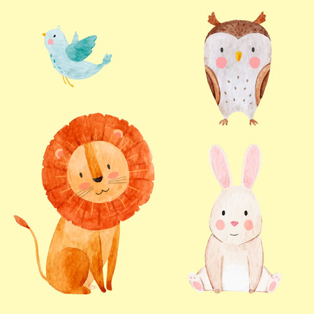 Beautiful vector set with some hand drawn watercolor cute baby animals on transparent background Stock Vector - 90095602