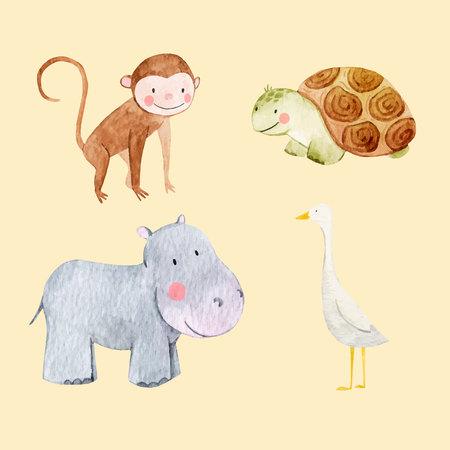 Piękny wektor zestaw z niektórych ręcznie rysowane akwarela słodkie zwierzęta dla dzieci na przezroczystym tle Ilustracje wektorowe