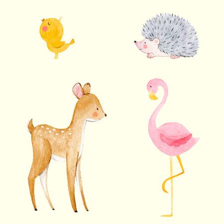 Schöner Vektor stellte mit etwas Hand gezeichneten netten Babytieren des Aquarells auf transparentem Hintergrund ein Vektorgrafik