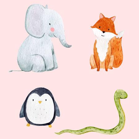 Piękny wektor zestaw z niektórych ręcznie rysowane akwarela słodkie dziecko zwierząt na przezroczystym tle