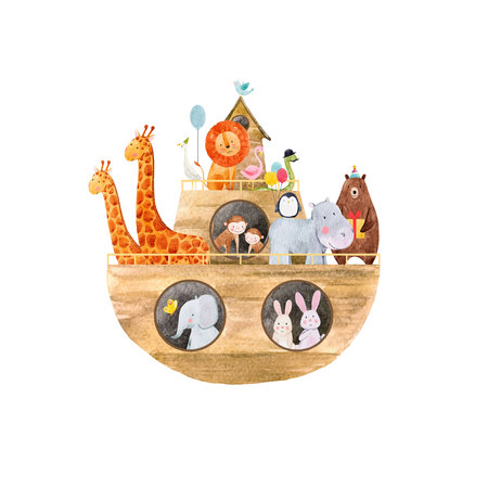 Watercolor baby Noah Ark 矢量图像