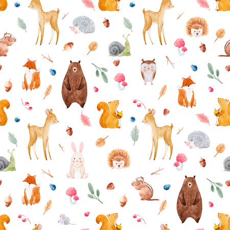 Watercolor baby vector pattern