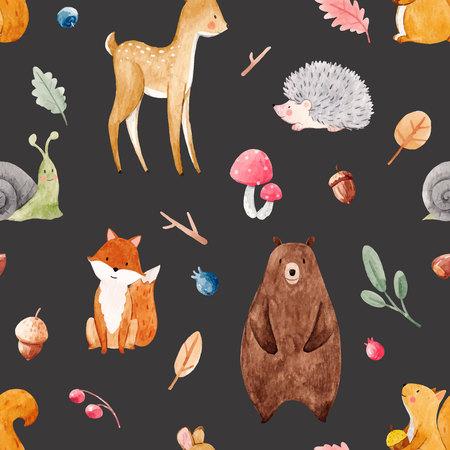 Watercolor baby vector pattern