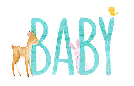 Watercolor baby word illustration Фото со стока - 90377056
