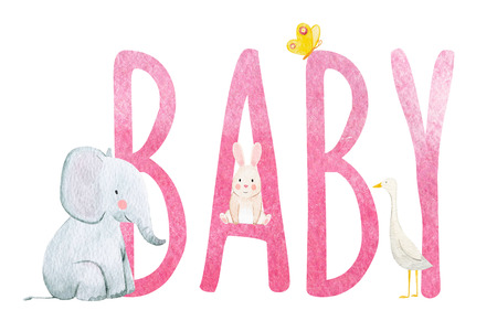 素敵な水彩動物と美しい赤ちゃんの世界のイラスト