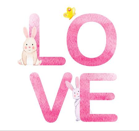 Beautiful love word watercolor hand drawn illustration Stock Photo
