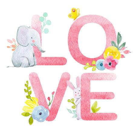 Watercolor love word Stock Photo