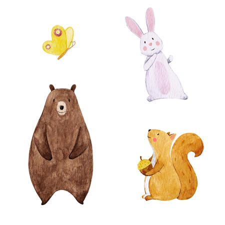 Cute watercolor animal set Banco de Imagens