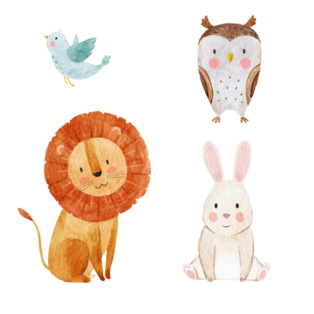 Cute watercolor animal set Stock Photo
