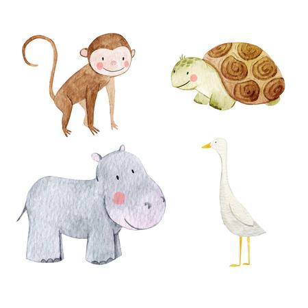 Cute watercolor animal set 스톡 콘텐츠
