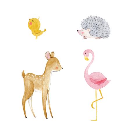 귀여운 수채화 동물 세트
