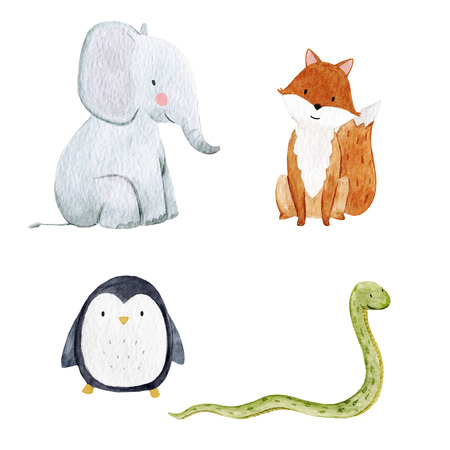Cute watercolor animal set Imagens