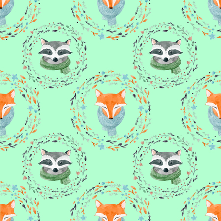 Watercolor cute animal vector pattern
