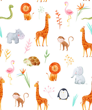 Watercolor baby vector pattern Stock Photo - 90497461