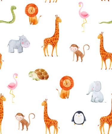 수채화 아기 벡터 패턴