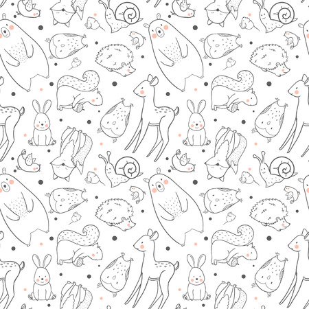 Beautiful seamless baby vector pattern with nice animals
