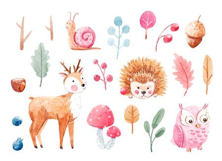 Cute watercolor animal set Stock Photo