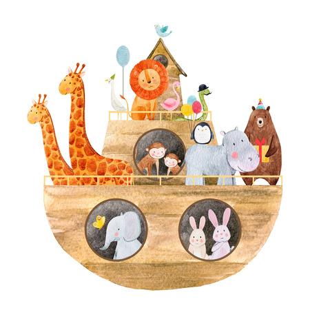 水彩赤ちゃんノアの箱舟 写真素材 - 91041041