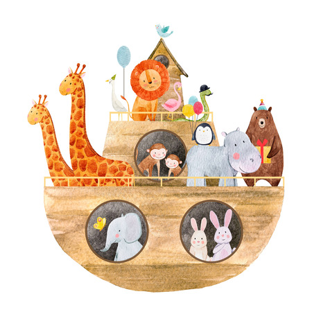 Watercolor baby Noah s Ark