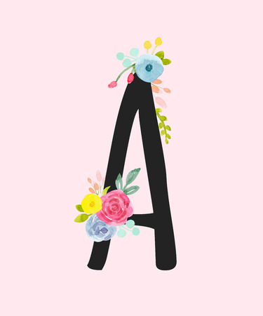 Watercolor vector capital letter A with flowers.