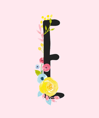 Watercolor vector capital letter E with flowers. Vettoriali